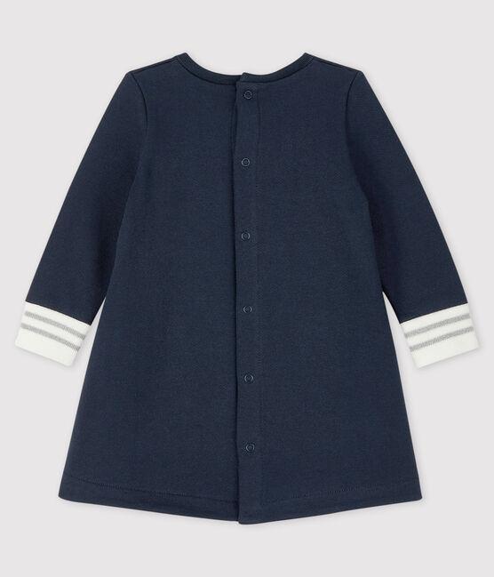 Robe manches longue bébé fille bleu Smoking / blanc Marshmallow