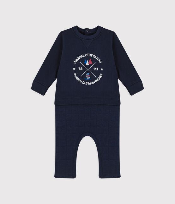 Combinaison longue en coton bébé. bleu Smoking