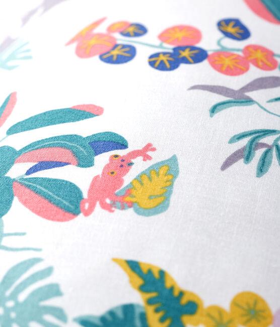 Coussin imprimé jungle en popeline blanc Marshmallow / blanc Multico