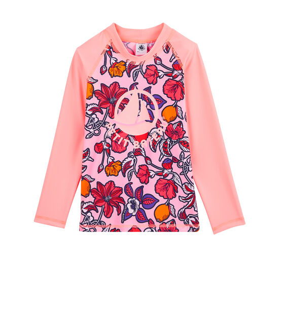 Tee-shirt protection solaire enfant fille rose Patience / blanc Multico