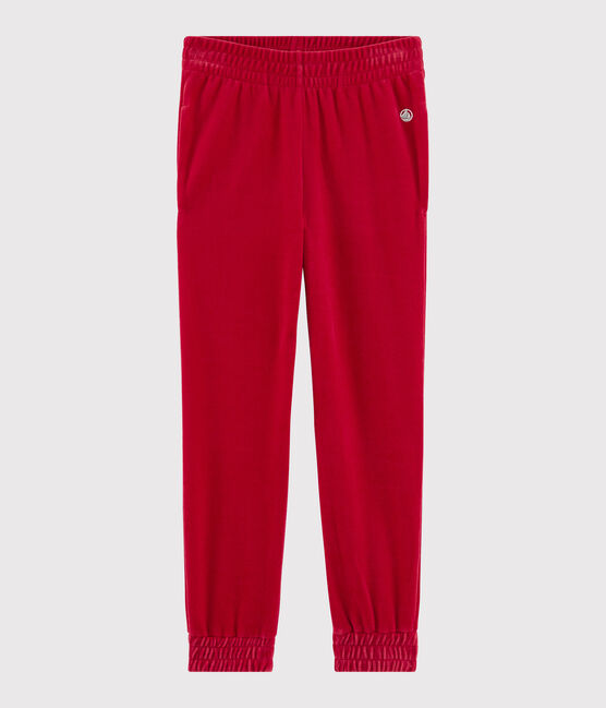 Pantalon en lisse velours enfant fille rouge Terkuit