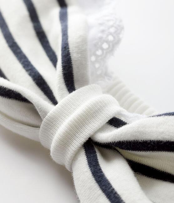 Bandeau rayé bébé fille blanc Marshmallow / bleu Smoking