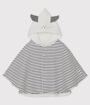 Cape rayée à capuche bébé en coton biologique blanc Marshmallow / bleu Smoking