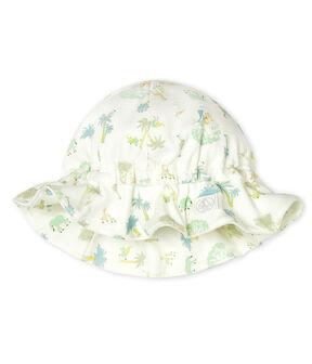 Chapeau bébé en côte blanc Marshmallow / vert Amandier