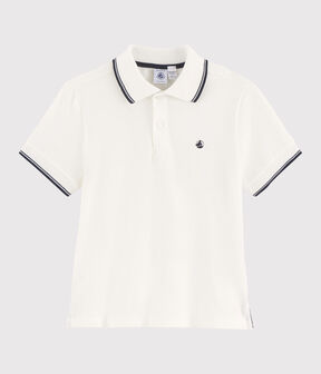 Polo manches courtes en jersey enfant garçon blanc Marshmallow