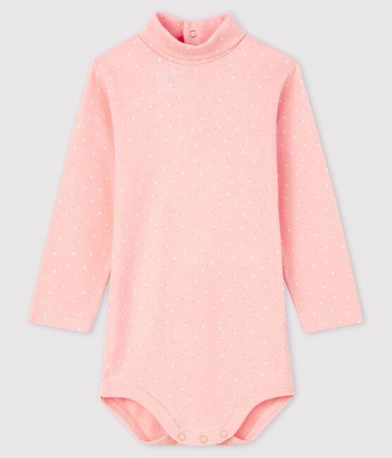Body manches longues bébé fille rose Minois / blanc Marshmallow