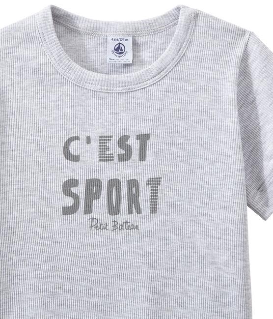 Pyjacourt garçon bi-matière gris Poussiere / blanc Lait