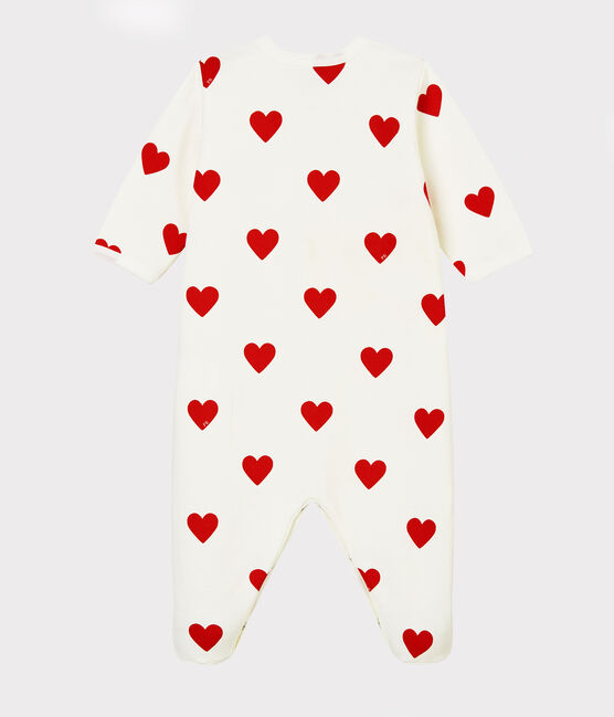 Dors-bien cœur rouge bébé en molleton en coton biologique blanc Marshmallow / rouge Terkuit