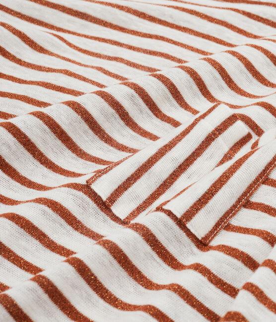 Tee-shirt manches longues femme en lin blanc Marshmallow / rose Copper