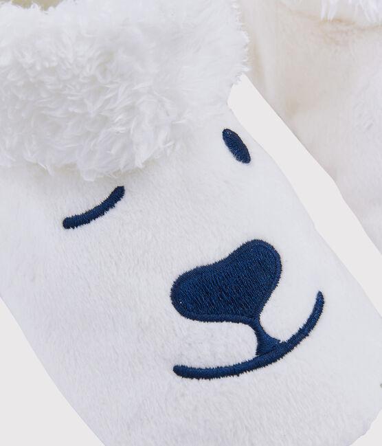Chaussons enfant ours en polaire blanc Marshmallow