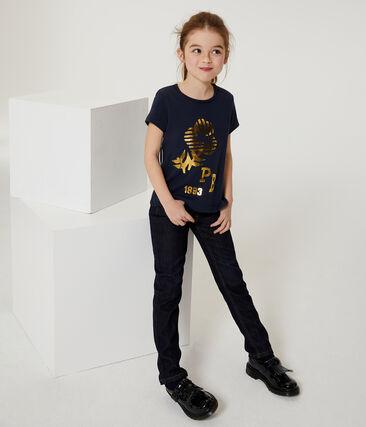 Tee-shirt manches courtes enfant fille bleu Smoking