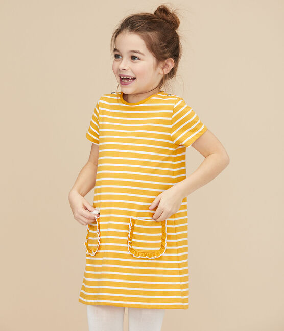Robe manches courtes enfant fille jaune Boudor / blanc Marshmallow