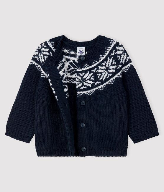 Cardigan 100% laine bébé bleu Smoking / blanc Marshmallow