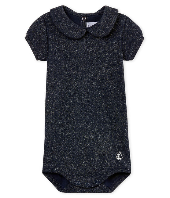 Body manches courtes col claudine brillant bébé fille bleu Smoking / jaune Or