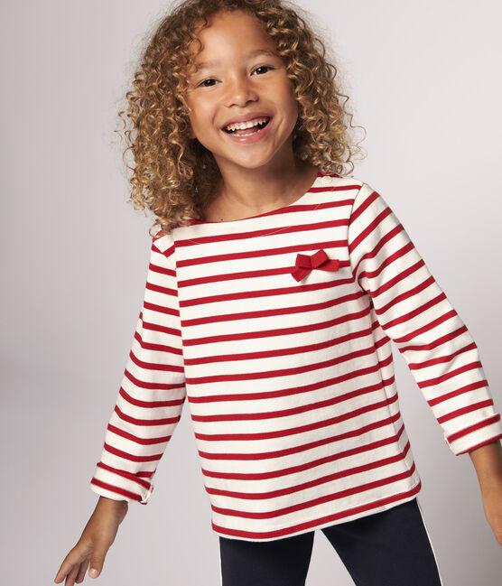 Marinière en jersey enfant fille blanc Marshmallow / rouge Terkuit