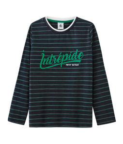 Tee-shirt manches longues enfant garçon bleu Smoking / vert Sousbois