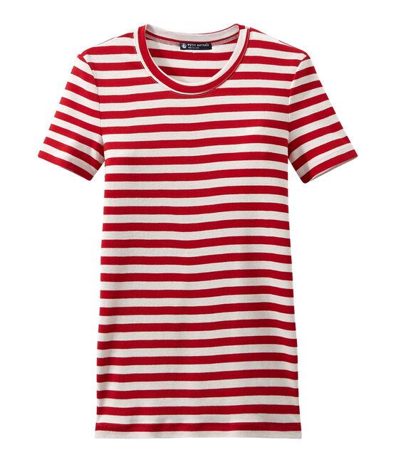 T-shirt femme en côte originale rayée rouge Terkuit / blanc Marshmallow