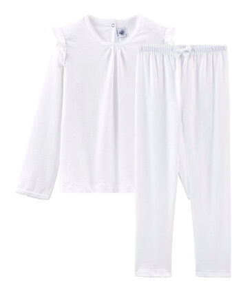 Pyjama petite fille en coton fin blanc Ecume