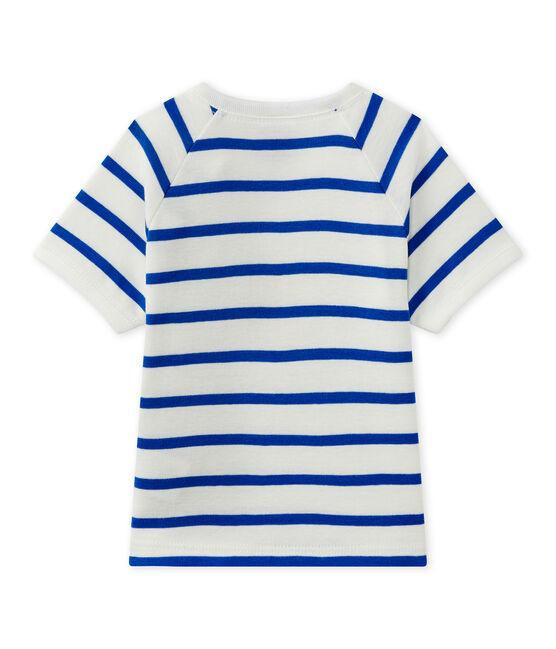 Tee-shirt bébé garçon manches courtes blanc Marshmallow / bleu Perse