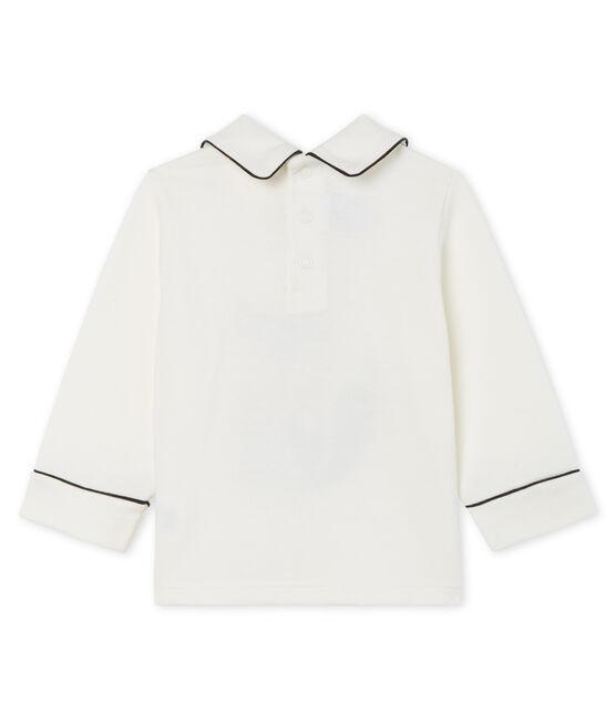 Tee shirt manches longues bébé garçon à col blanc Marshmallow