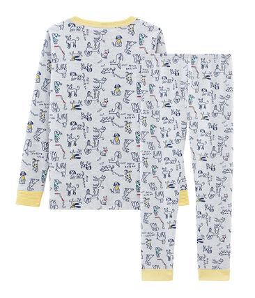 Pyjama petit garçon coupe très ajustée en côte gris Poussiere / blanc Multico