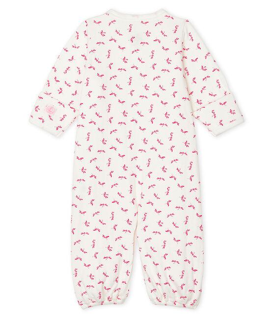 Combisac bébé en côte blanc Marshmallow / rose Groseiller