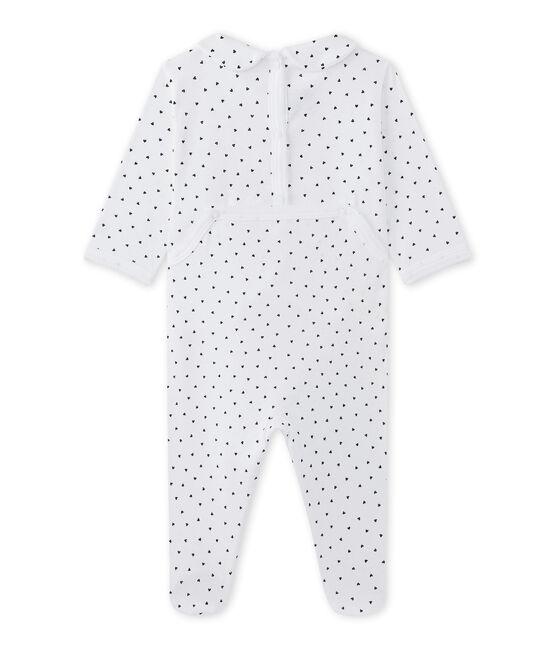 Dors bien bébé fille imprimé cœurs blanc Ecume / bleu Medieval