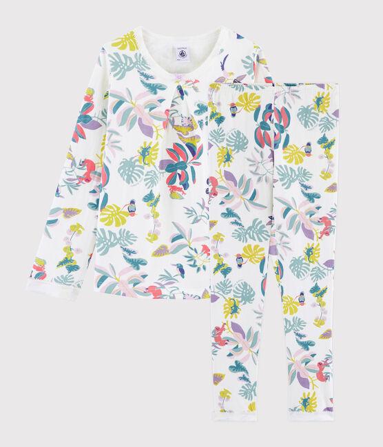 Pyjama imprimé jungle petite fille en tubique blanc Marshmallow / blanc Multico