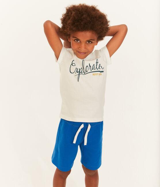 Tee-shirt enfant garçon à manches courtes blanc Marshmallow