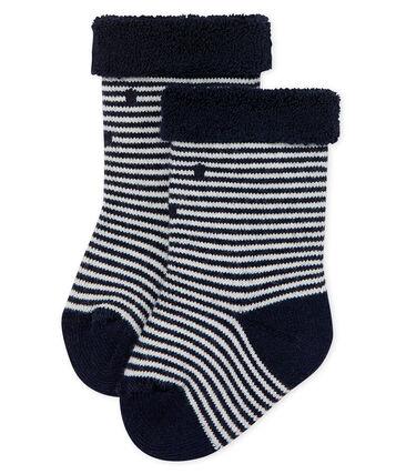Chaussettes hautes envers éponge rayée bébé mixte