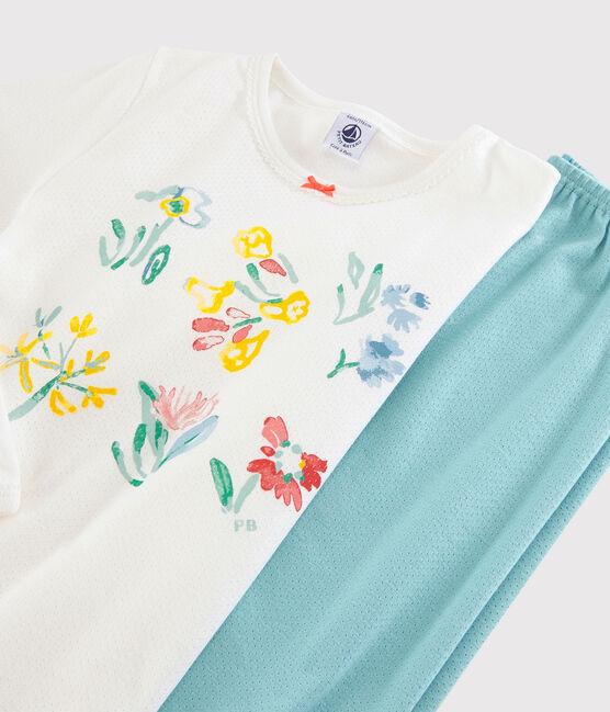 Pyjama fleurs printanières petite fille en coton bleu Tiki / blanc Marshmallow