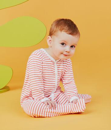 Dors bien bébé garçon en côte blanc Marshmallow / orange Orient