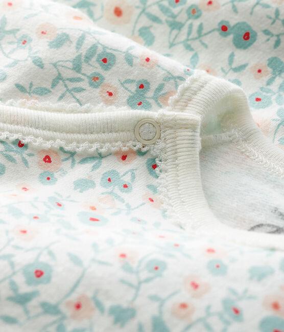 Dors-bien à imprimé fleuri bébé en molleton blanc Marshmallow / blanc Multico