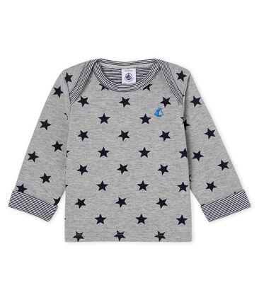 Tee shirt manches longues imprimé bébé garçon gris Subway / bleu Smoking
