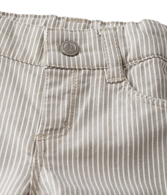 Pantalon bébé garçon rayé gris Minerai / blanc Lait