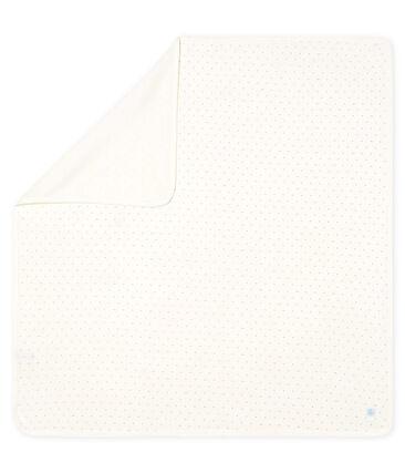 Drap de maternité bébé en côte blanc Marshmallow / bleu Acier