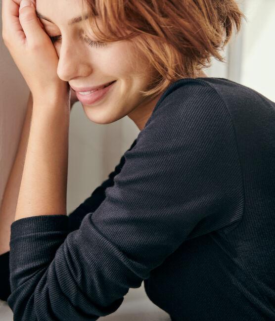 T-shirt laine et coton Femme noir Noir