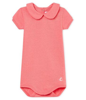 Body manches courtes col claudine brillant bébé fille rose Cupcake / rose Copper
