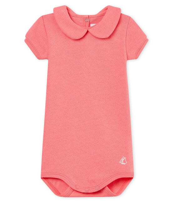 Body manches courtes col claudine brillant bébé fille rose Cupcake / rose Copper