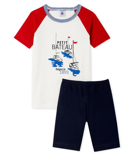 Pyjacourt petit garçon coupe très ajustée en côte bleu Smoking / blanc Multico