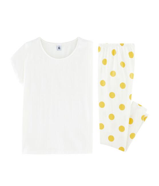 Pyjama fille en côte blanc Marshmallow / jaune Ble