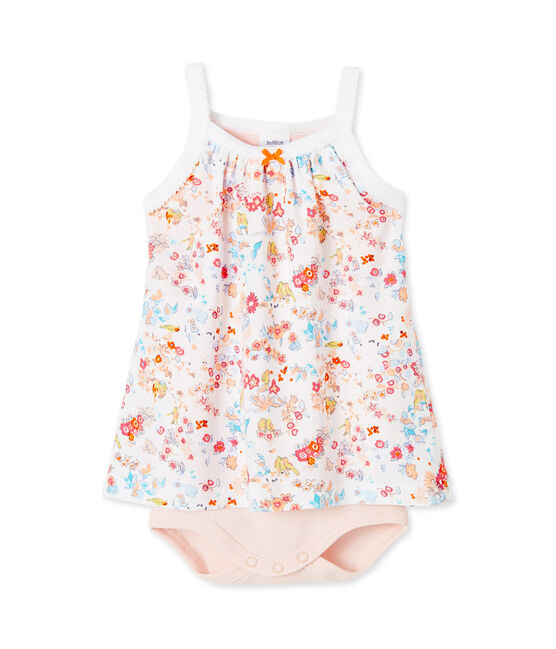 Body robe bébé fille à bretelles blanc Ecume / rose Cupcake