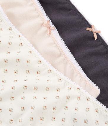 Trio de shorties petite fille en coton stretch