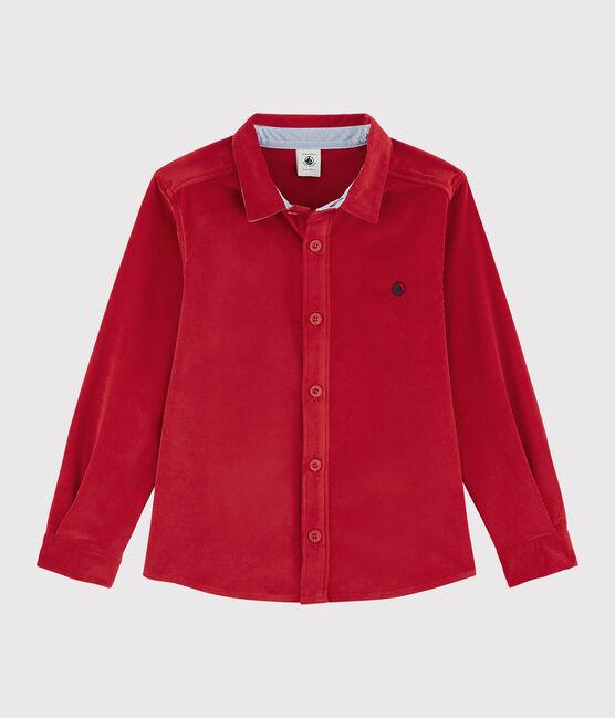 Chemise en velours enfant garçon rouge Terkuit