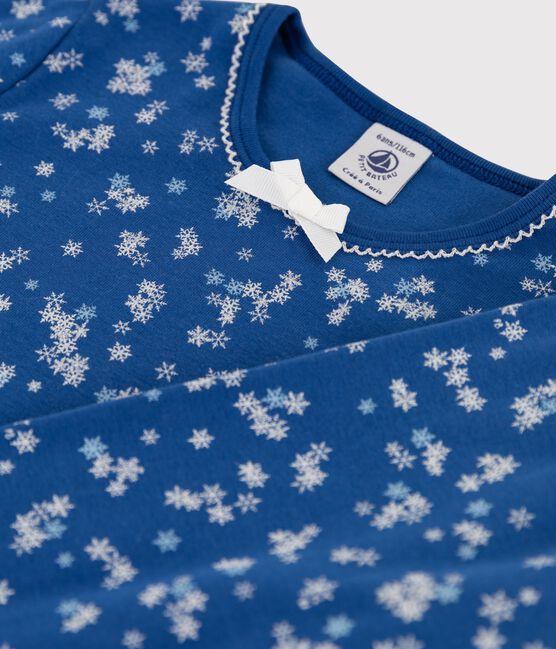 Pyjama petite fille imprimé flocons en côte bleu Major / blanc Ecume