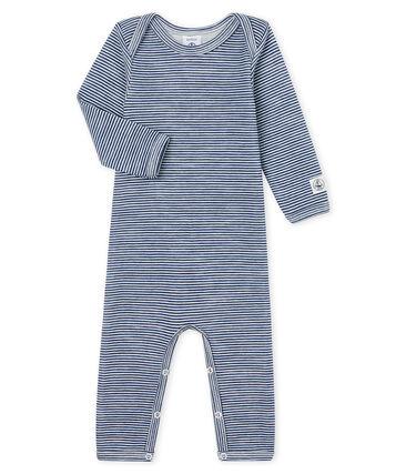 Body jambes longues bébé en laine et coton bleu Medieval / blanc Marshmallow