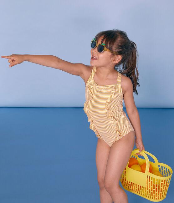 Maillot de bain 1 pièce enfant fille jaune Bamboo / blanc Marshmallow