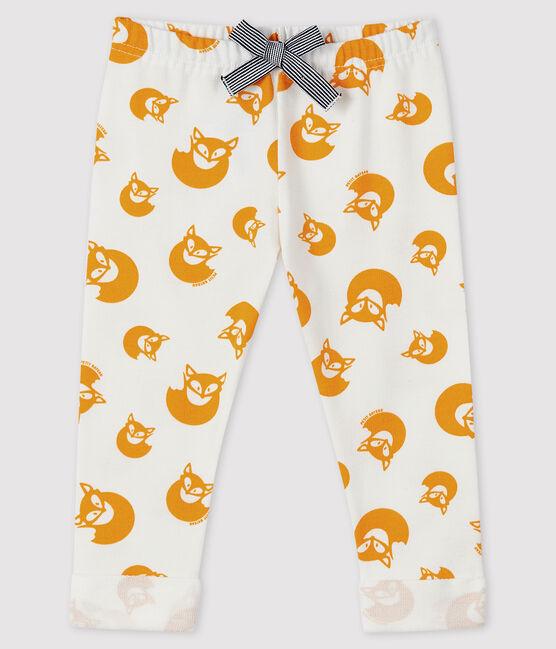 Pantalon en molleton bébé garçon blanc Marshmallow / jaune Boudor