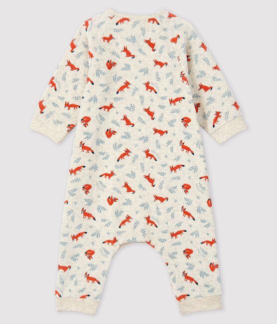 Combinaison longue imprimé renard bébé garçon en velours beige Montelimar / blanc Multico