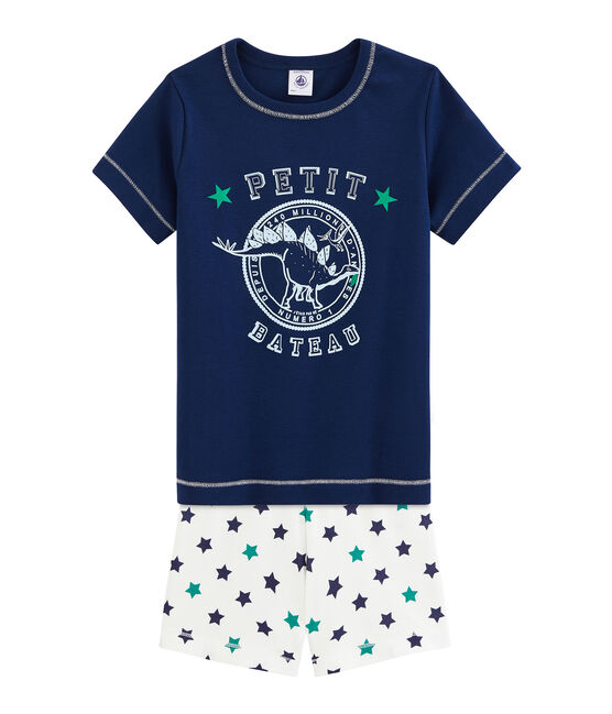 Pyjacourt petit garçon en lin/coton bleu Medieval / blanc Multico